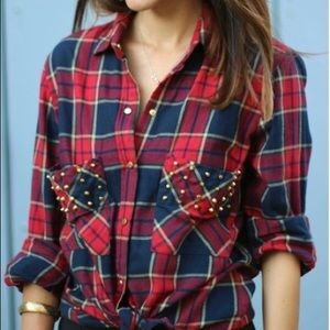 Zara | Studded Red & Blue Flannel Shirt